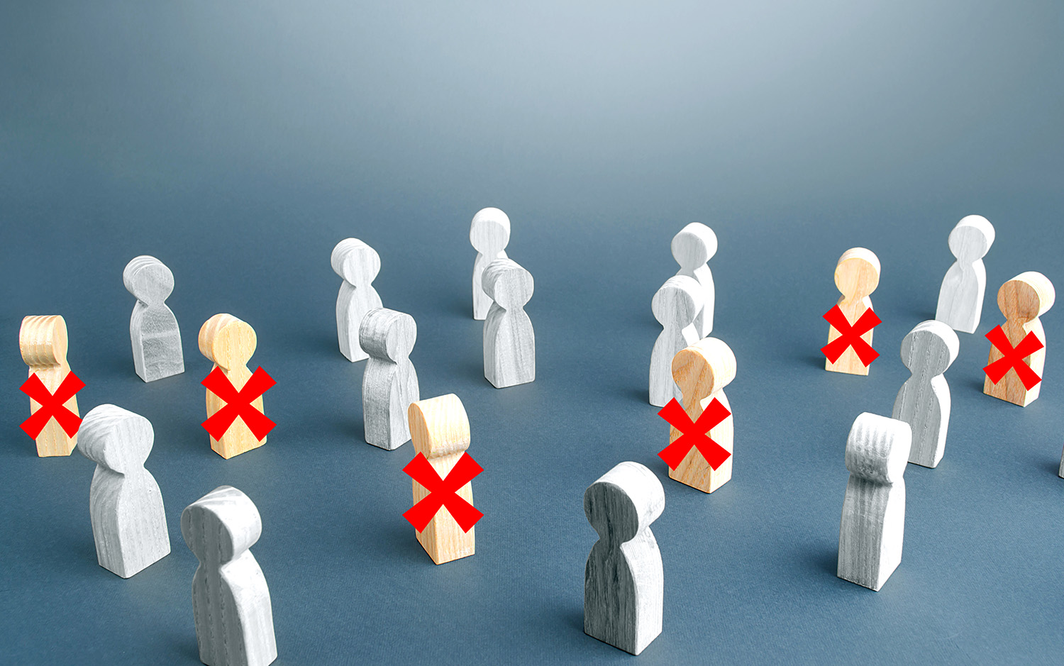 Group of figures, some with Xs over them representing a fractured workforce